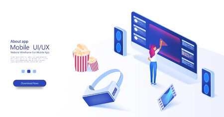 The girl chooses a movie. Watching film on big screen with sound system. Popcorn, virtual reality glasses and film in a trendy style. Outdoor movie theater,