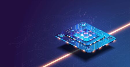 Futuristic microchip processor with lights on the blue background. Quantum computer, large data processing, database concept. Ilustração