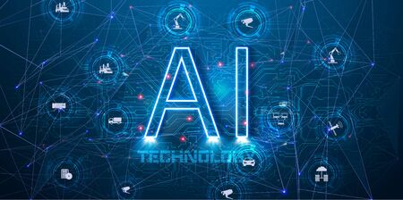 AI Artificial Intelligence infographic banner. Website vector illustration. Concept vector illustration with icons.