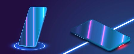 3D realistic template of an imaginary phone with the neon reflection on the screen. Perspective view of the smartphone.