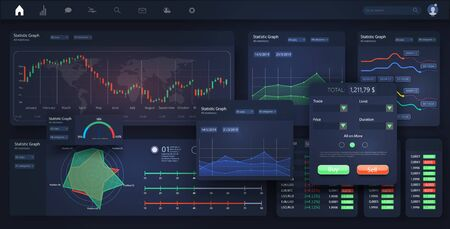 Stock exchange market graph, analysis UI, UX, Kit on desktop and tablet. Forex market. Binary option. Stock, great design for any purposes. Ilustração