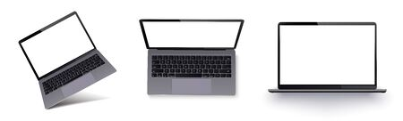 Laptop with blank screen isolated on white background.Realistic laptop incline isolated on white background. Isometric