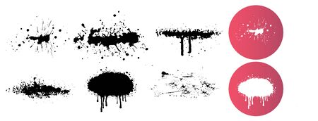 Dripping liquid. Paint dripping. Paint flows. Current paint, stains. Current drops. Set of graffiti spray banner. Vector spray paint shapes with smudges