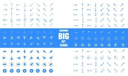 Modern simple arrows. Arrow vector icon set in thin line style. Arrows big blue set icons. Arrow icon. Arrow vector collection. Arrow. 向量圖像