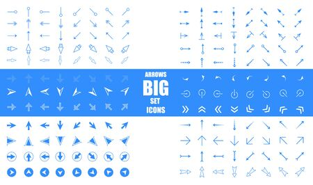 Modern simple arrows. Arrow vector icon set in thin line style. Arrows big blue set icons. Arrow icon. Arrow vector collection. Arrow. Vectores