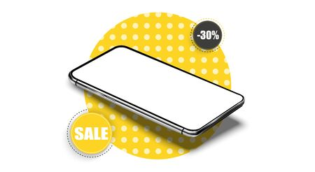 Modern color and geometric pattern. Sale banner design template on the background of the mobile phone. Mobile clearance sale discount poster. Yellow tag template special offers for purchase. Vectores