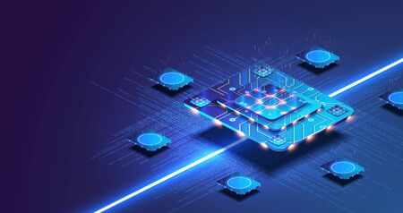 Futuristic microchip processor with lights on the blue background. Quantum computer, large data processing, database concept. Vectores
