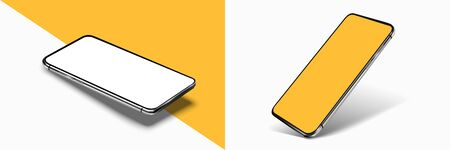 Smartphone frame less blank screen mockup, rotated position. 3d isometric illustration cell phone. Smartphone perspective view. Vectores