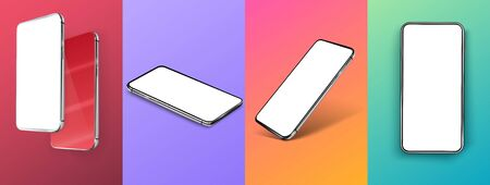 Creative fluid colors backgrounds. Trendy design. Smartphone frameless blank screen.Mockup device,UX Vectores
