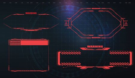 Futuristic screens HUD, GUI, UI and titles warning, danger. Warning. Conceptual Layout with HUD elements for print and web. Foto de archivo - 143977552