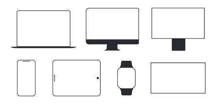Device and gadget line art set. Modern electronic devices. Compact personal computer, smartphone, mobile phone, laptop. Popular devices