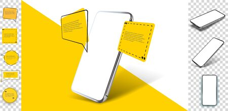 Smartphone frameless blank screen, rotated position. 3d isometric illustration cell phone. Smartphone perspective view. Template for infographics, presentation business card, flyer,