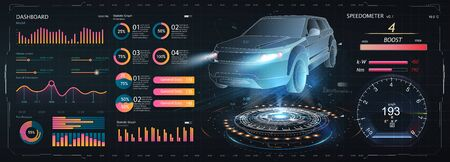 Cars infographic ui, analysis and diagnostics in HUD style, futuristic user interface, repairs cars, Car auto service, mechanisms. Smart auto ai. HUD, UX. Dashboard ui Illusztráció