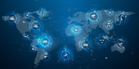 Internet of things IoT and networking concept for connected devices. Spider web of network connections with on a futuristic blue background Vectores