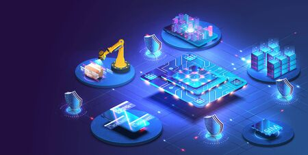 Internet of things abstract blue central processing unit isometric icon in center of background. Creation and optimization of the layout of the site interface. Vettoriali