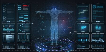 Modern medical examination HUD, UI, GUI style. Human body scan Anatomy, ECG monitor, Dna formula. element medical examination.