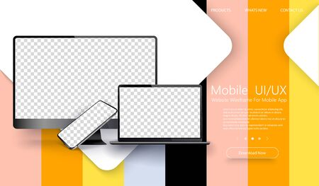 Realistic set of Monitor, laptop, tablet, smartphone dark grey color. Color trend palette.Mockup generic device. Template for presentation. Design of the menu for a website. Creative web design.