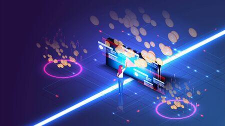 Media marketing concept. Monetization, make money online concept. Software, profit receiving successful