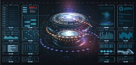 Futuristic circle vector HUD, GUI, UI interface screen design.Vector science abstract. Futuristic user interface with digital infographics and data charts Ilustração
