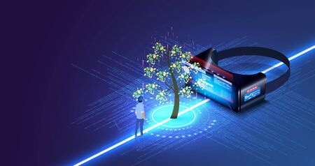 Nature and technology interaction. Tree with futuristic element. Virtual digital biotechnology tree engineering concept. VR helmet reality