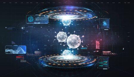 Futuristic user interface. 3d illustration.HUD. Hi-tech futuristic display. Hologram of coronavirus COVID-2019 on a blue futuristic background Vectores