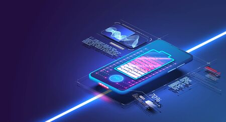 Futuristic phone is charged wirelessly on a blue background. Wireless charging. Wireless charging of the smartphone battery. Future concept. Vectores