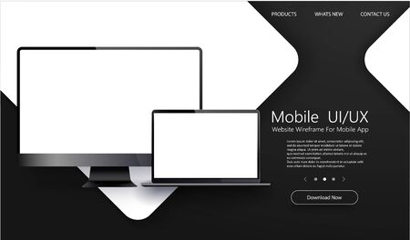 Laptop and PC isolated vector. Awesome responsive web design development coding concept. Gadget illustration vector.