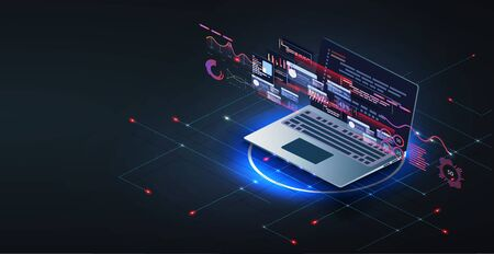 Application of laptop with business graph and analytics data on isometric laptop .Digital money market, investment, finance and trading. Ilustração