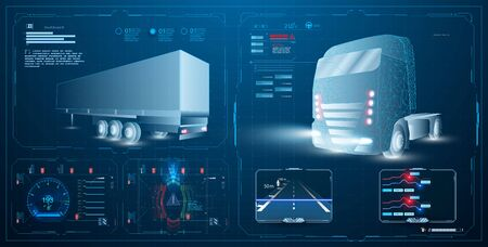 Autonomous smart truck. Unmanned vehicles. artificial intelligence controls the Autonomous truck. Hologram car style in HUD UI GUI. Hardware Diagnostics Ilustração