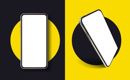 Isolated Modern Smartphone Mockup on yellow background. Realistic mockup. . Template for infographics or presentation UI UX