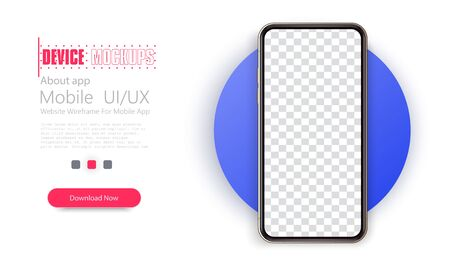 Realistic smartphone mockup. Mobile phone blank, white. Device UI/UX mockup for presentation template.
