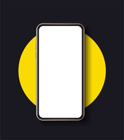 Realistic smartphone mockup. High detailed black slim realistic Smartphone isolated on yellow and black background. Front View display.
