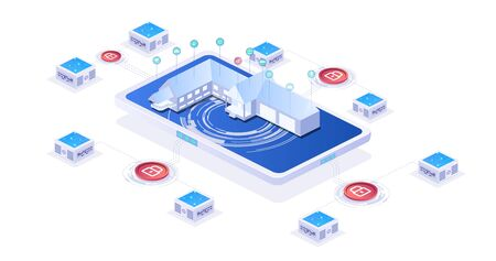 Internet of things isometric poster with smart house on screen of smartphone. Control household appliances function Concept of system intelligent Illusztráció
