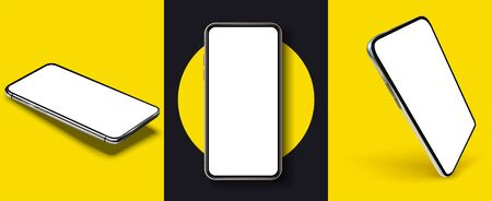 Smartphone frame less blank screen, rotated position. Smartphone from different angles. Mockup generic device. UI UX smartphones set.