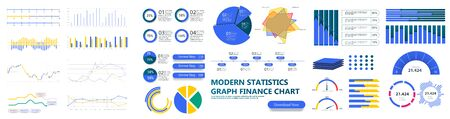 Modern infographic template with stock diagrams and statistics bars, line graphs and charts for finance report.