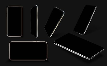 Smartphone frame less blank screen, rotated position. Smartphone from different angles. Mockup generic device. Black Smartphones set.