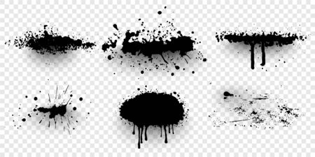Ink splashes. Black inked splatter dirt stain splattered spray splash. Spray paint vector elements isolated Illusztráció