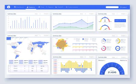 Web dashboard, great design for any site purposes. Business infographic template. Vector flat illustration. Dashboard user admin panel template design. Ilustração