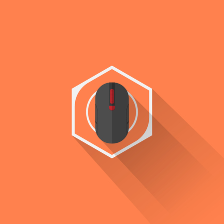 gaming: Gaming Gear Flat Icon Mouse Illustration