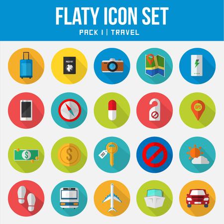 Flat Icon Set travel pack