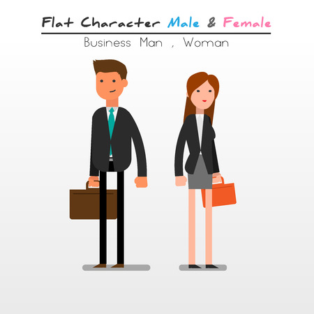 skirt suit: Flat Character Cartoon Business man