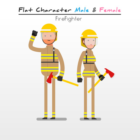 fire fighter: Flat Character Cartoon Fire Fighter Illustration