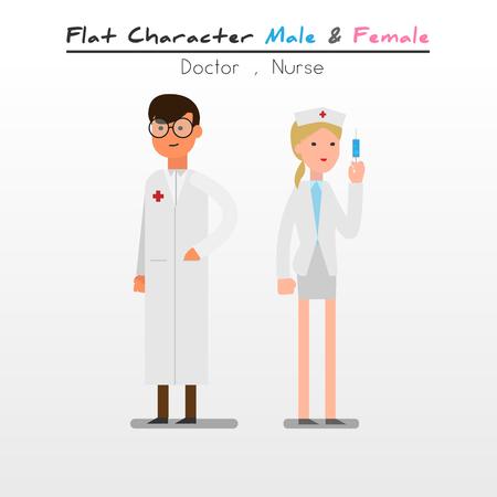suit skirt: Flat Character Cartoon Doctor  Nurse