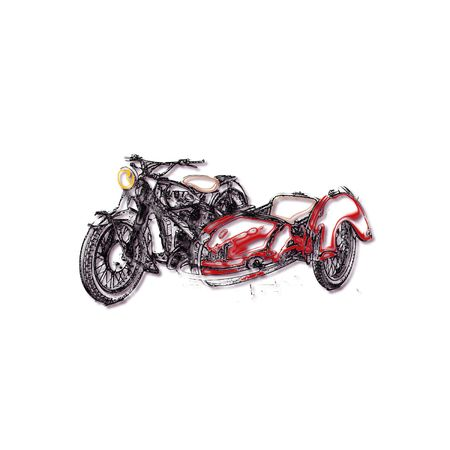 The image in stylized form is motorcycle sidecar Illustration