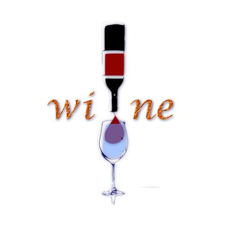 The image represents the stylized form of bottle of wine with glass and inscription