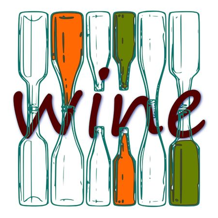 lovable: The image in stylized form is written with wine bottles Illustration
