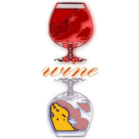 pinkish: The image in stylized form is written with wine glasses of wine Illustration