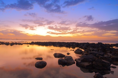 aux: COLORFUL SUNSET IN MAURITIUS Stock Photo