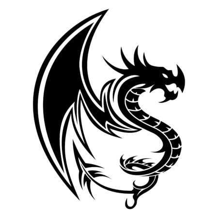 Drachen Tattoo Vektor S Buchstaben Silhouette