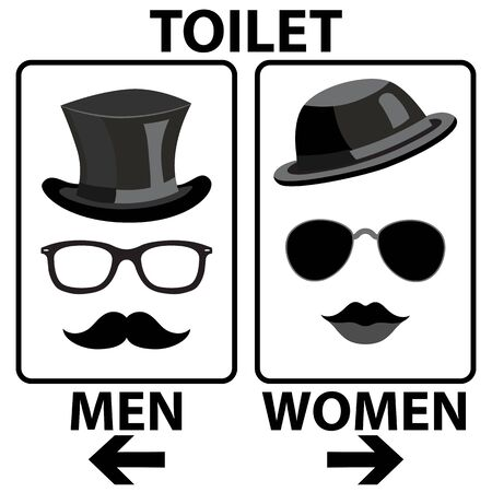 Toilet Sign Ladies Gentleman Men Women Black White Silhouette Ilustrace